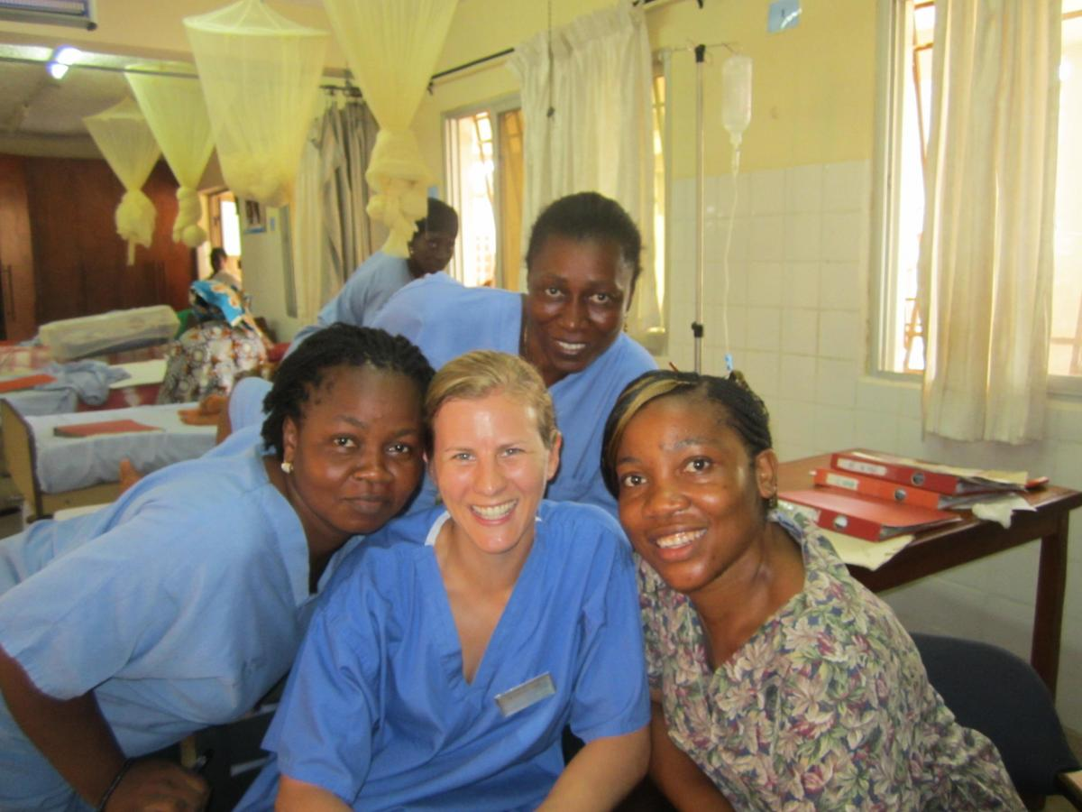 Dr. Carolyn Ford with three local midwives at the Aberdeen Women's Centre