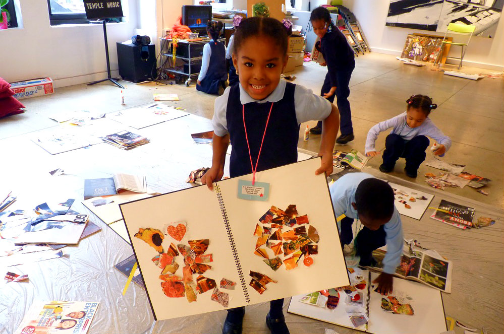 A yound girl learning through art in New York