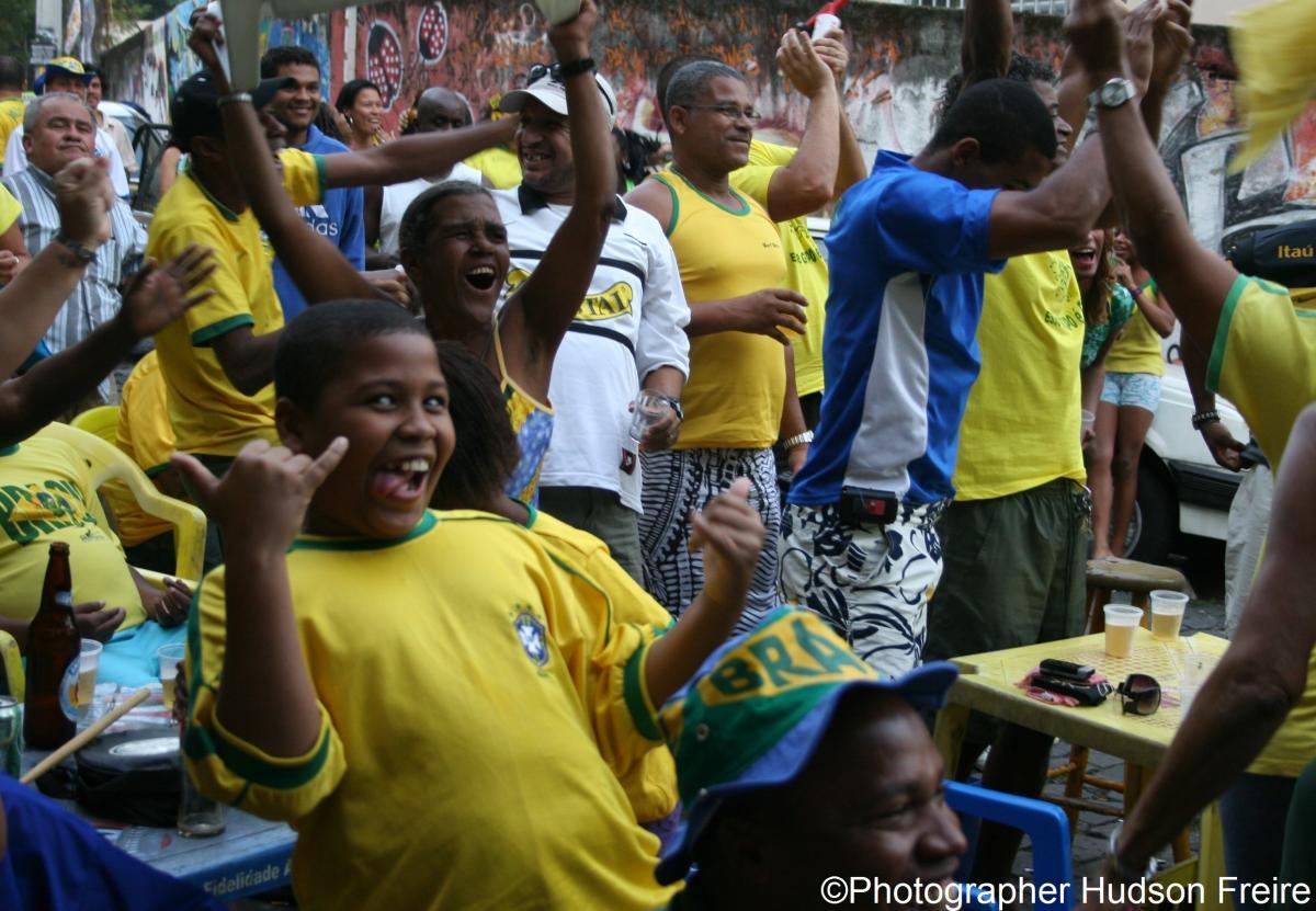 Boys cheer during Promundo Football Campaign