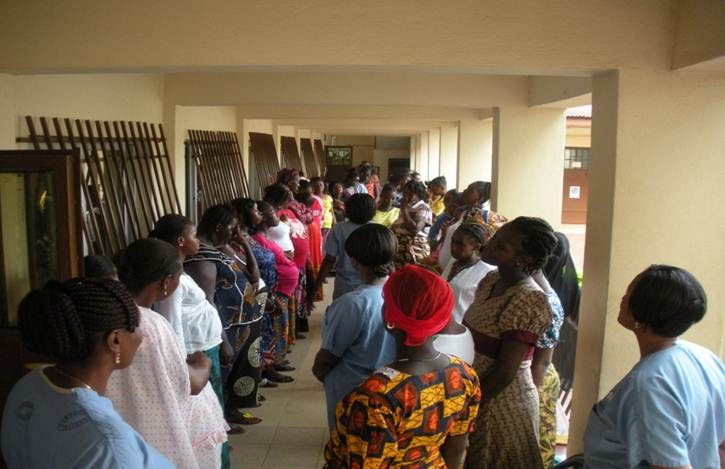 Pregnant women line up to get obstetric care at the Aberdeen Women's Centre