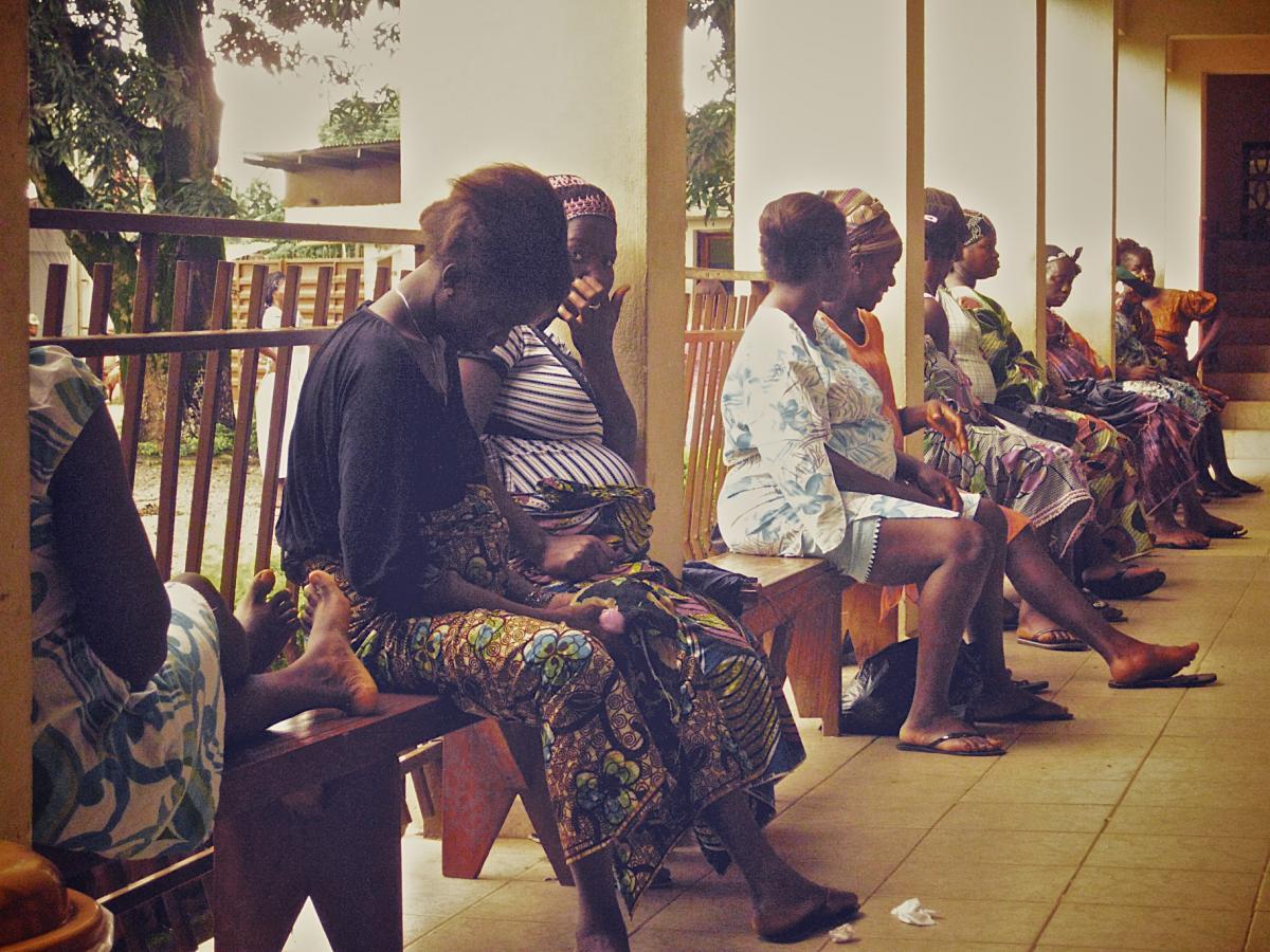 Women wait outside the Aberdeen Women's Centre antenatal clinic