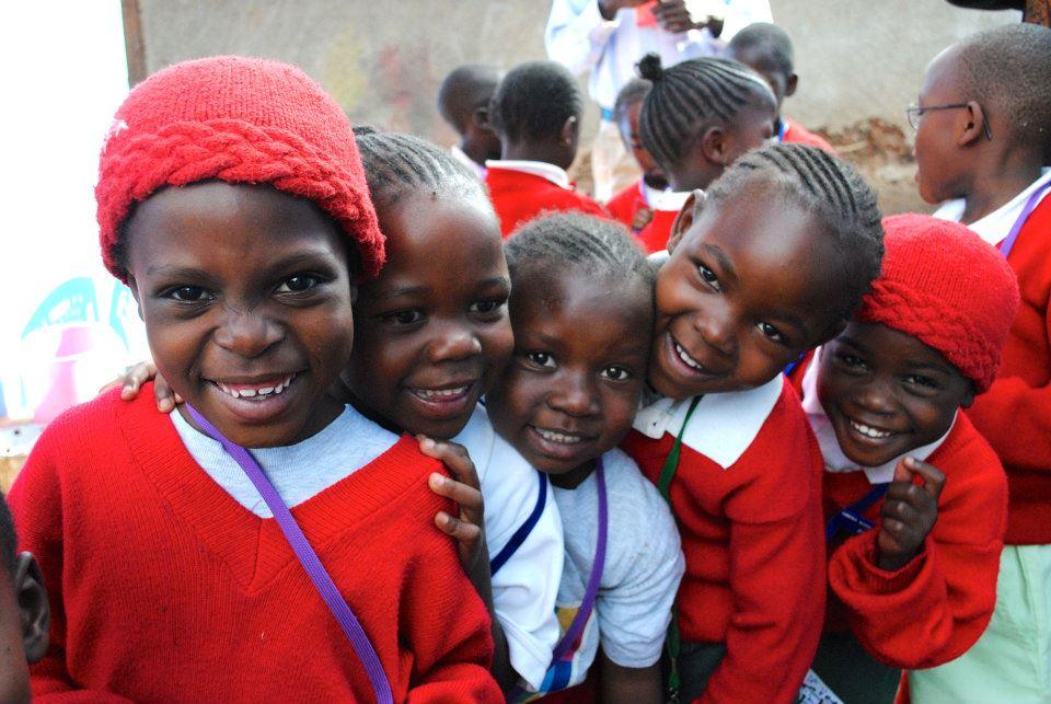 Smiling girls from Shining Hope for Communities' Kibera School for Girls