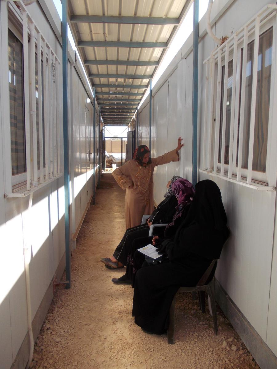 The Syrian refugee camp maternity's hallway and waiting room
